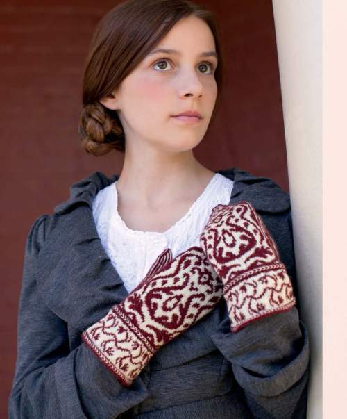 The Best of Jane Austen Knits - Damask Mittens beauty shot
